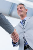 Businessman shaking hands with a businesswoman Stock Photography
