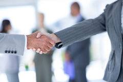 Businessman shaking hands with a co worker Royalty Free Stock Images