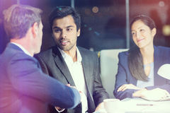 Businessman shaking hands with colleague Royalty Free Stock Photos