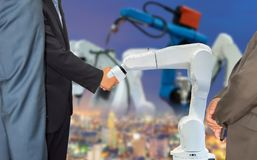 Businessman shaking hands cooperation with robot robotic arm future industry 4.0 stock illustration