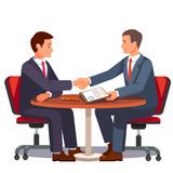 Businessman shaking hands on a signed contract vector illustration