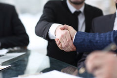 Businessman shaking hands to seal a deal with his partner Stock Photography