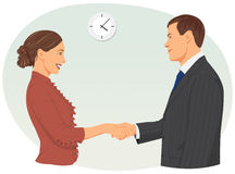 Businessman shaking hands with woman Royalty Free Stock Photography