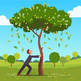 Businessman shaking tall cash tree with banknotes. Businessman shaking tall cash tree with dollar banknotes, golden coins. Money flying down falling on ground Royalty Free Stock Photography
