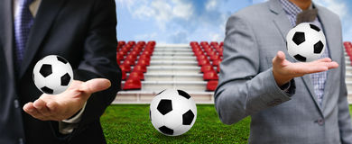 Businessman share football game Stock Photography