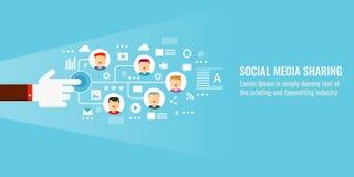 Social media, content publication, sharing, promotion, viral marketing, digital media marketing concept. Flat design vector banner. Businessman sharing contents Royalty Free Stock Photos