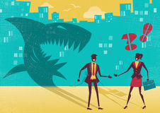 Businessman is really a Shark in disguise. Great illustration of a businessman who is exposed as a shark in real life by a clever businesswoman who sees right Royalty Free Stock Photography