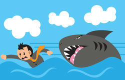 Businessman and shark. Businessman swimming, run from giant shark Royalty Free Stock Photography