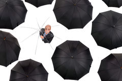 Businessman without shelter Stock Photo