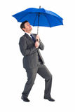 Businessman sheltering under blue umbrella Stock Image