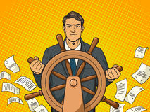 Businessman and ship steering wheel pop art vector Royalty Free Stock Image