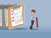 Businessman in shirt leaning a pen with completed checklists on paper. Businessman in shirt cartoon character design leaning a pen with completed checklists on Stock Image