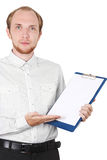 Businessman in shirt showing document isolated Stock Photos
