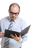 Businessman shock with document Stock Photo