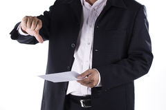 Businessman Shocked received layoff notice. Isolated on white background Stock Image