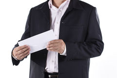 Businessman Shocked received layoff notice. On white background Royalty Free Stock Photos