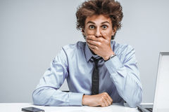 Businessman Shocked What Happened, Looking At Camera Stock Photo