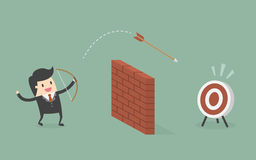 Businessman Shoot Arrow Over The Wall To The Target. Business Concept Cartoon Illustration Royalty Free Stock Photo