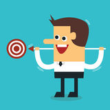 Businessman shoot target, flat design. Businessman shoot target, flat design, goal concept Royalty Free Stock Images