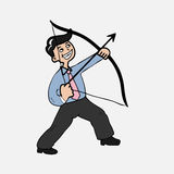 Businessman shooting archer Stock Photos