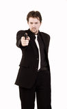 Businessman shoots a gun Royalty Free Stock Photos