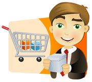 Businessman with shopping cart. Young businessman with shopping cart holding a box Royalty Free Stock Photography