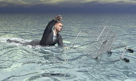 Businessman and shopping cart sinking - 3D render. Businessman and shopping cart sinking in the water by grey cloudy day Royalty Free Stock Photos