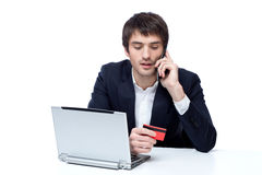 Businessman shopping online Stock Image