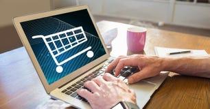 Businessman shopping online using laptop Stock Photo