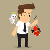 Businessman shoulder devil and angel Stock Images