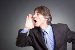 Businessman shouting Royalty Free Stock Photos