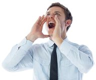 Businessman shouting Stock Photos