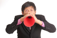 Businessman shouting for announce Royalty Free Stock Photos