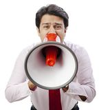 Businessman shouting Stock Photo