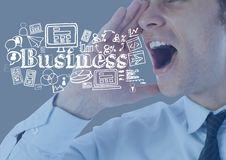 Businessman shouting with Business graphics drawings Royalty Free Stock Photo
