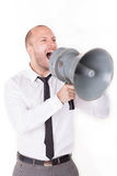 Businessman shouting on his megaphone Stock Images