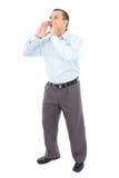 Businessman shouting, isolated on white Royalty Free Stock Photos