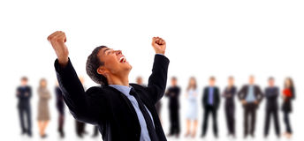 Businessman shouting loudly Royalty Free Stock Image