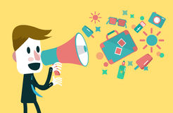 Businessman shouting with loudspeaker Stock Photo