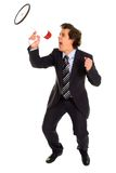 Businessman Shouting Through Megaphone Stock Photography