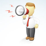 Businessman shouting with a megaphone. Vector illustration of a businessman is shouting with a megaphone on his right hand Stock Photos