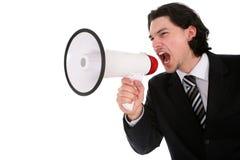 Businessman Shouting Through Megaphone royalty free stock photo