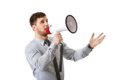 Businessman shouting through megaphone. Royalty Free Stock Image