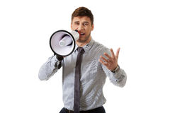 Businessman shouting through megaphone. Royalty Free Stock Images