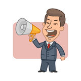 Businessman shouting into megaphone Royalty Free Stock Photography