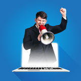 Businessman Shouting Through Megaphone Stock Photos