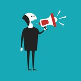 Businessman shouting in megaphone vector concept in flat cartoon style Royalty Free Stock Images