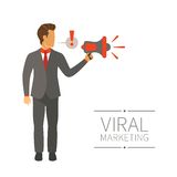 Businessman shouting in megaphone vector concept in modern flat style Royalty Free Stock Photo