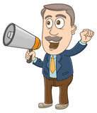 Businessman - Shouting with megaphone Royalty Free Stock Images