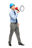 Businessman shouting with megaphone on white background Royalty Free Stock Photography